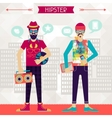 Two hipsters on urban background in retro style vector