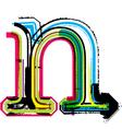 Grunge colorful font letter n vector