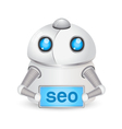Robot with seo sign technology concept vector
