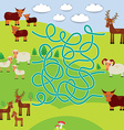 Farm animals - sheep deer cow labyrinth game for vector