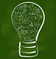 Concept of bulb with set school icons vector