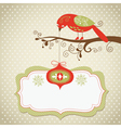 Christmas card with cute bird and hanging toy vector