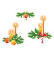 Candles and fir branches vector
