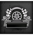 Emblem races checkered flag background vector