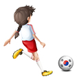 A girl kicking the ball with the south korean flag vector