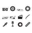 Silhouette realistic car parts and services icons vector