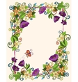 Floral card hand drawn retro flowers and leaves vector