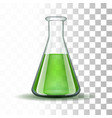 Chemical laboratory transparent flask with green vector