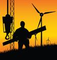 Construction worker builds windmills vector