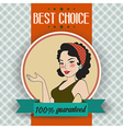 Retro of a beautiful woman and best choice message vector