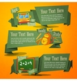 Set of cute back to school banners with bag bus vector