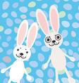 Happy easter rabbits on blue background card vector
