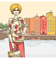 Urban view and elegant glamour girl after shopping vector
