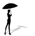 Girl posing with ymbrella in hand silhouette vector