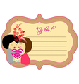 Love valentines about label vector