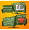 Set of cute back to school banners with text book vector