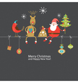 Christmas card with funny company vector