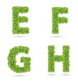 Letters of green leaves collection vector