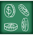 Money coins set hand drawn doodle vector