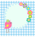 Round frame with cute bird vector
