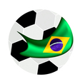 Soccer ball and brazilian flag of brazil 2014 vector