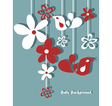 Hand drawn retro flowers and birds vector
