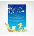 Christmas card with gold ribbon and copy space vector