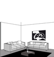 Black and white living room vector