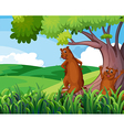 Wild animals under the tree vector