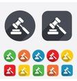 Auction hammer icon law judge gavel symbol vector