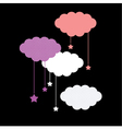 Colorful clouds isolated on black background vector