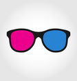 3d glasses red and blue on white background vector
