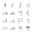 Hand holding objects outline set vector