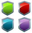 Shiny shields in different colors vector