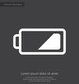 Low battery premium icon white on dark background vector