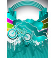 Abstract summer background with bmx cyclist vector