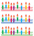 rows of birthday candles on cake vector