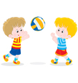 Children playing volleyball vector