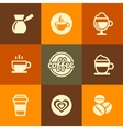 Coffee icons set in flat design color style vector