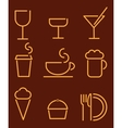 Beverage and food set icons vector