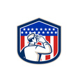 American soldier saluting flag shield vector