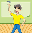 Student throwing paper airplane toy vector