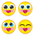 Four smiling faces vector