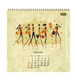 Girls retro calendar 2014 for your design vector