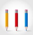 Set colorful wooden pencils with shadows vector
