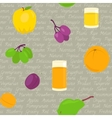 Seamless pattern with fruits and text vector