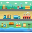 Industrial buildings factories horizontal banners vector