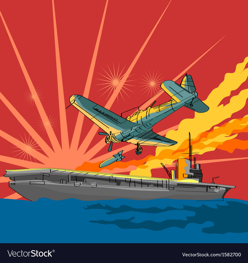 Airplane attacking ship vector | Price: 1 Credit (USD $1)