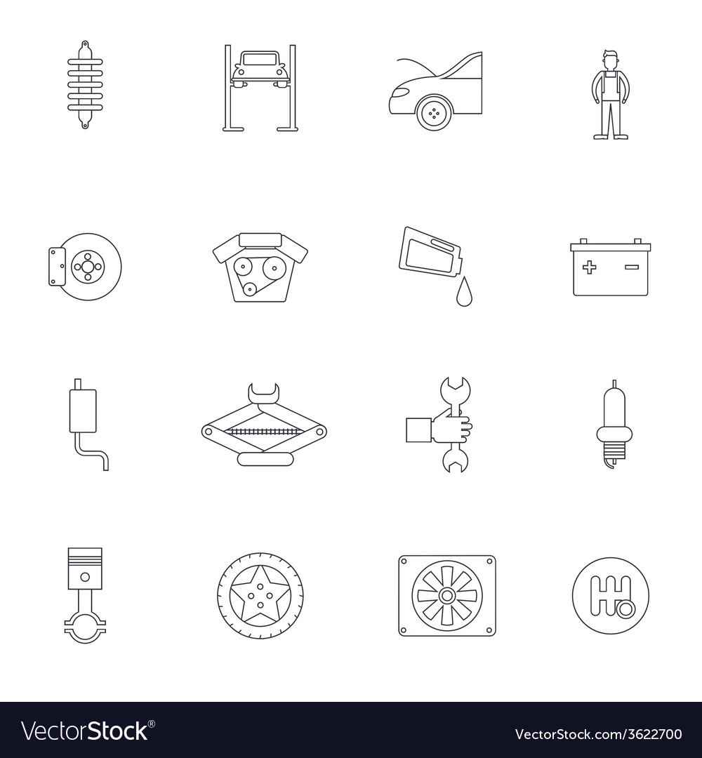 Auto service outline icon vector | Price: 1 Credit (USD $1)