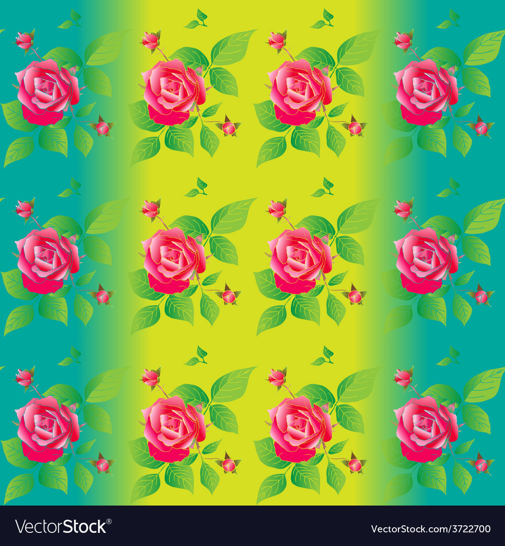 Bright color seamless pattern with beautiful roses vector | Price: 1 Credit (USD $1)